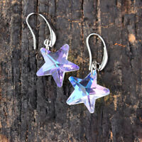 Fashion Star Crystal Drop Dangle Hook Earrings 925 Silver Wedding Party Jewelry