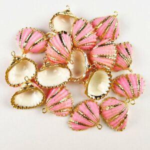 10Pcs Natural Gold Plated Pink Spiral Seashell Pendant 24x23x9mm 20g A-3BK