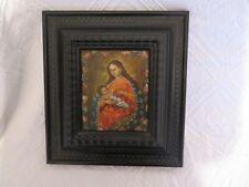 ancienne peinture sur cuivre Marie et l'enfant jésus