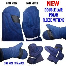 NEW DOUBLE LAIR POLAR FLEESE MITTENS ONE SIZE FITS MOST UNISEX NAVY BLUE
