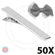 50Pcs Metal Barrette Silver Crocodile Alligator Bow Blank Hair Clips Clamp DCUK
