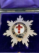 More details for large edwardian sterling silver & enamel masonic knights templar breast star.