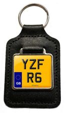 YZF R6 Reg (GB) Number Plate Leather Keyring for Yamaha YZFR6 600 NOS