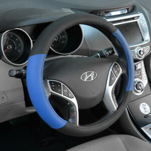 BDK Blue Black Two Tone Faux Leather Steering Wheel Cover For Car Van SUV