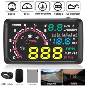 """5.5"""" Car OBD2 HUD Head Up Display Vehicle Fuel Consumption Speed Warning System"""