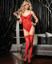 NEW RED LACE FLORAL LEOTARD BODYSUIT BODY & STOCKINGS S/M LEG AVENUE COSPLAY