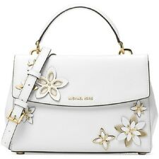 142541d542b467 New Michael Kors Flowers Ava Small Leather Satchel white floral bag metal  art
