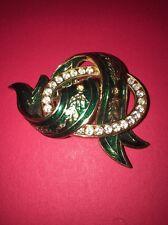 JOAN RIVERS Green Enamel Ribbon Pin Crystal Gold Tone Setting Brooch Beautiful!!