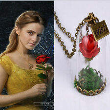 SHIPS FAST!  Beauty and the Beast Bell Glass Necklace Rose Vial Flower Dome Gift