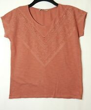 BROWNY POWDER PINK LADIES CASUAL TOP BLOUSE SIZE 10 TU STRETCH EMBROIDERED