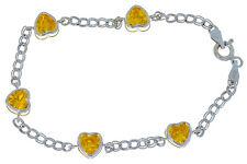 5 Ct Citrine Heart Bezel Bracelet .925 Sterling Silver