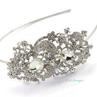 Bridal Wedding Vintage Style Silver Crystal Diamante Side Tiara Headband TH01
