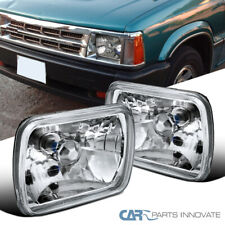 "7""X6"" H6052 Sealed Beam Replacement Chrome Clear Cut Headlights w/ H4 Bulbs Pair"