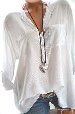 ITALY MODA Tunika Oversize Hemd DOTS Bluse Fischerhemd 42 44 46 Weiß Grau NEU