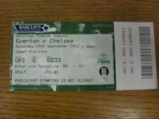 14/09/2013 Ticket: Everton v Chelsea  (folded, complete). If this item has any f