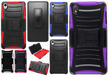T-Mobile Sony Xperia Z3 Combo Hybrid Holster HYBRID KICKSTAND Case +Screen Guard