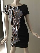 Bcbg Max Azria Black Shirred Side Zip Cap Sleeve Dress Size S