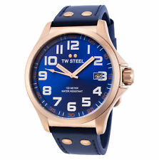 TW Steel TW404 Men's Pilot 45mm Rose Gold-Tone Blue Dial Blue Leather Watch