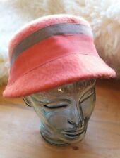 Vintage Flapper Style Cloche Orange KMF Hat - Felt