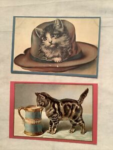 2 Cat Kitten Postcards Reproductions Out Of The West 1991