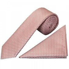 Rose Gold Diamond Neat Skinny Men's Tie and Pocket Square Set Thin Tie Slim Tie