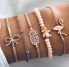 Bohemia Flamingo pineapple Bowknot Bracelets Bangles For Women Bracelets Sets Je