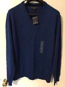 Club Room Men V-Neck Merino Wool Knit/Sweater Blue New (L)
