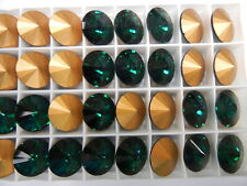 12 Swarovski rivoli stones,16mm emerald / foiled #1122