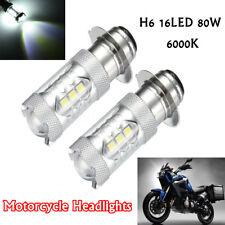 2pc H6 16LED 80W Super White LED Headlight Bulbs 6500K For Motorcycle ATV Yamaha