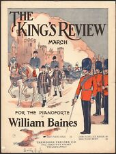 KING'S REVIEW MARCH sheet music WILLIAM BAINES easy piano PHILADELPHIA 1927
