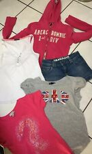 LOT FILLE 12.14 ANS VESTE ABERCROMBIE MINI SHORT JEANS TOP GUESS BONOBO GAP