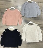Girls Kids Knitted Long Sleeve Cold Shoulder Cut Out Winter Jumper With Pearls