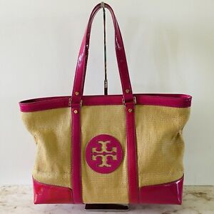 TORY BURCH Tan Pink Color Block Tote Bag