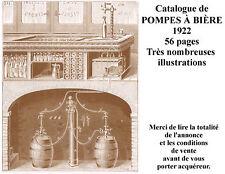 Catalogue 1922 de pompes à BIÈRE pour café et brasserie