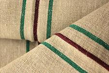 Vintage Linen homespun hemp Emerald Green + burgundy natural linen fabric 3Yds