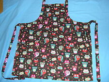VINTAGE-STYLE BIB APRON**OWLS ON TREE BRANCHES **ADULT**HOMEMADE