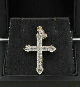 9ct Yellow Gold CZ Crucifix Cross Pendant