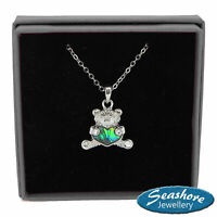 Teddy Bear Necklace Paua Abalone Shell Pendant Silver Fashion Jewellery 18""