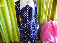T38-40 JOLIE robe vintage bleue marine à pois des années 50-60