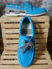 CROCS~  BLUE CANVAS & GRAY BEACH LINE NAUTICAL LOAFER BOAT SHOES ~8M ~ VGC!