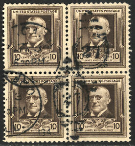 SCOTT 868 1940 10 CENT JAMES WHITCOMB ISSUE BLOCK OF 4 USED F-VF!