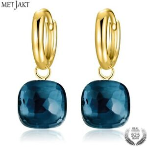 Beautiful Gold Over Sterling Silver Natural London Blue Topaz Drop Earrings 10mm
