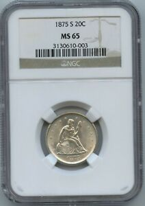 1875 S 20 Cent NGC MS 65 Super White and Absolutely the Perfect Type Coin!!