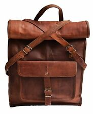 "22"" genuine leather large laptop bag backpack for 15.6 17 school book bag mens"