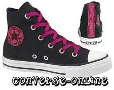 KIDS Girls CONVERSE All Star® BLACK PINK GLITTER HI TOP Trainers Boot SIZE UK 10