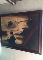 Vintage Original Oil Painting Impressionist Fisherman Framed Fishing ART Lake