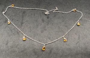 925 Sterling Silver Citrine Drop Lariat Necklace -46cm