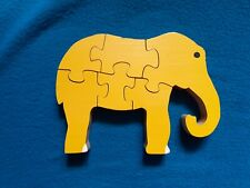 Yellow 6 Piece Elephant Wooden Puzzle