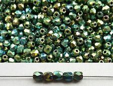 100x feuerpolierte Glasschliffperlen 3mm Grau metallic Hämatit # 14400 silber