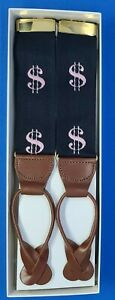 Dooney & Bourke Braces/suspenders Leather/Black Elastic w/ Pink $ Signs/Money VT